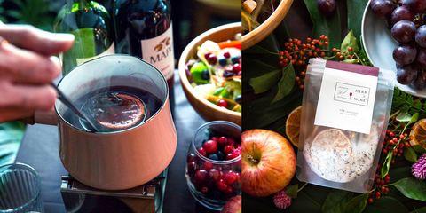 Food, Superfood, Fruit, Pomegranate, Apple, Drink, Brunch, Apple cider, Plant, Ingredient,