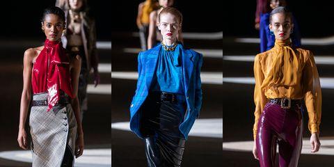 Fashion model, Fashion, Fashion show, Runway, Fashion design, Electric blue, Haute couture, Street fashion, Cobalt blue, Event,