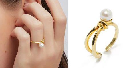artismi扭結珍珠戒指