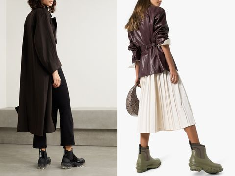 Clothing, Outerwear, Fashion, Footwear, Coat, Overcoat, Fashion model, Ankle, Sleeve, Trench coat,