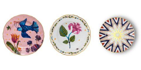 Dishware, Leaf, Plate, Tableware, Dinnerware set, Ceramic, Wildflower, Circle, Iris,