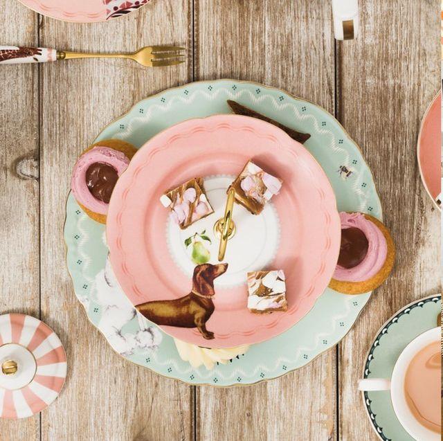 Dishware, Plate, Brunch, Meal, Breakfast, Table, Food, Pink, Dish, Tableware,