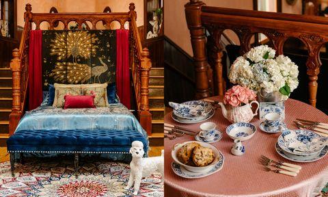 Room, Furniture, Table, Interior design, Tablecloth, Porcelain, Living room, Textile, Centrepiece, Tableware,