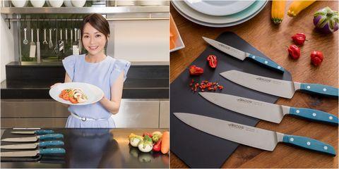 西班牙刀具品牌arcos阿科斯,採用獨家不鏽鋼刀片。西班牙米其林二星名廚mario sandoval馬利歐·桑多瓦爾擔任2020年度品牌代言人,與美女主廚joanna劉韋彤享受療癒料理時光