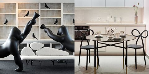 Furniture, Interior design, Room, Table, Coffee table, Living room, Wall, Couch, Chair, Black-and-white,