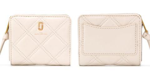 marc jacobs softshot奶油白绗縫短夾