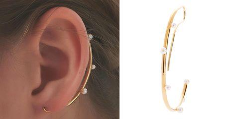 lesis半圓弧珍珠耳扣
