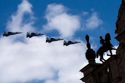Four Mikoyan MiG-31military airplanes fly in formation over Moscow during a rehearsal for the Victory Day military parade to celebrate the 71st anniversary of the victory in WWII