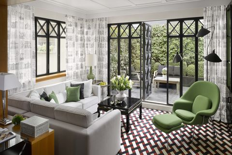 Interior design, Room, Green, Floor, Architecture, Living room, Wall, Table, Couch, Furniture,