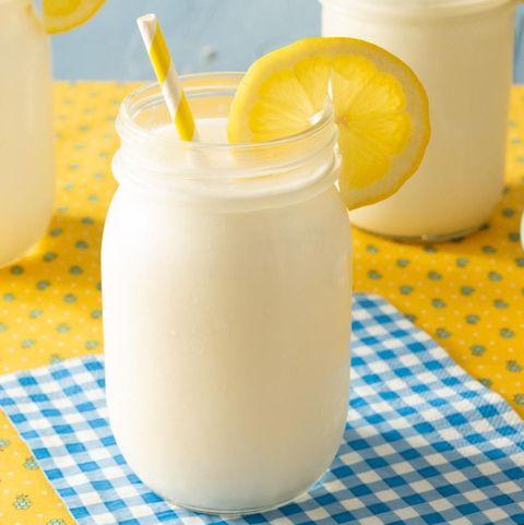 frozen lemonade in mason jar