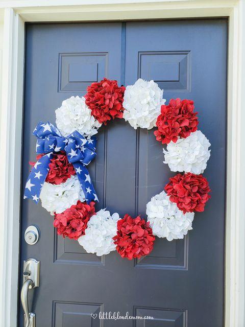 fourth of july hydrangea wreath