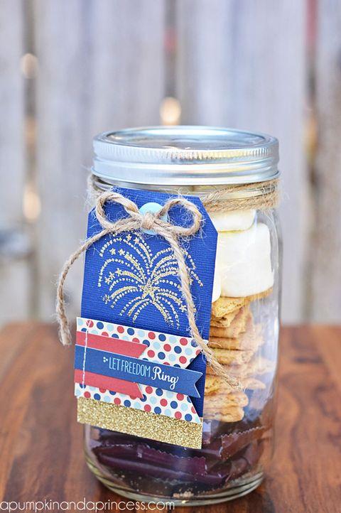 fourth of july mason jars smores