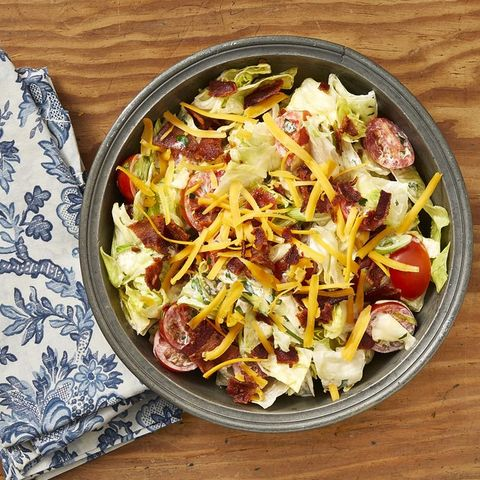 ranch chopped salad on wood surface