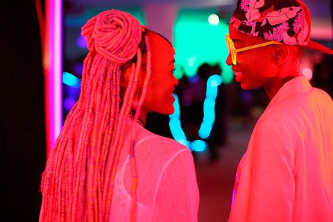 Pink, Red, Performance, Magenta, Performing arts, Performance art, Fashion, Stage, Event, Headgear,