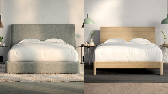 bed frames one gray and one light wood