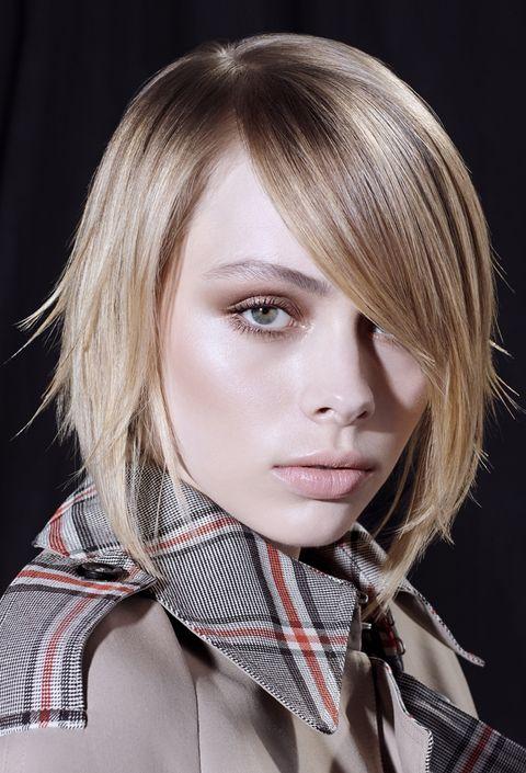 Hair, Face, Hairstyle, Blond, Lip, Layered hair, Chin, Beauty, Bangs, Bob cut,