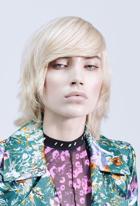 Hair, Face, Blond, Hairstyle, Beauty, Head, Chin, Bob cut, Lip, Bangs,