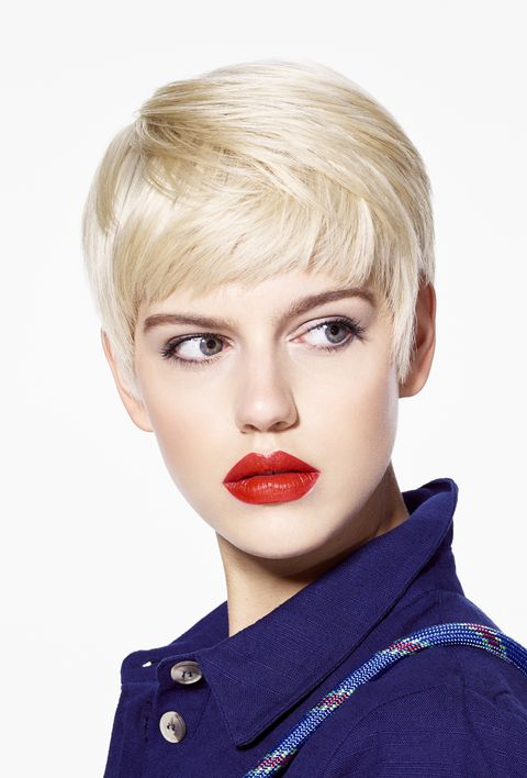 Hair, Face, Blond, Lip, Hairstyle, Chin, Eyebrow, Beauty, Bob cut, Bangs,