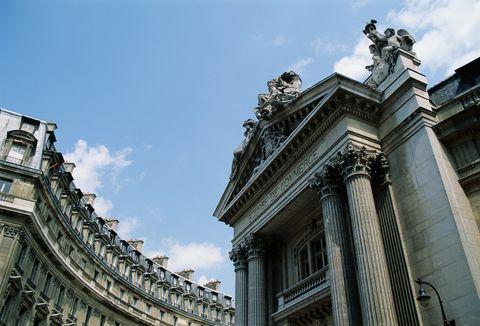 france, paris, exterior of la bourse de commerce, low angle view
