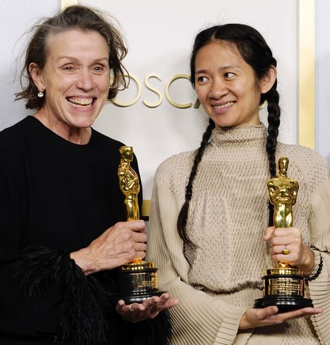 los angeles, california   april 25 frances mcdormand and chloe zhao, winners of best picture for nomadland, pose in the press room at the oscars on sunday, april 25, 2021, at union station in los angeles photo by chris pizzello poolgetty images