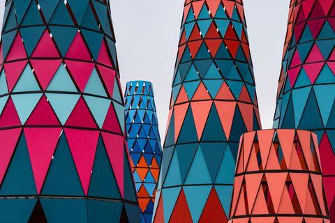 Blue, Landmark, Pattern, Red, Symmetry, Triangle, Architecture, Line, Orange, Design,