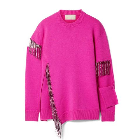 christopher kane   crystal embellished cutout wool sweater