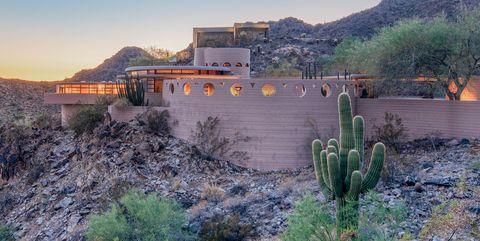 Sky, Landscape, Cactus, Saguaro, Mountain, House, Plant, Architecture, Village, Rock,