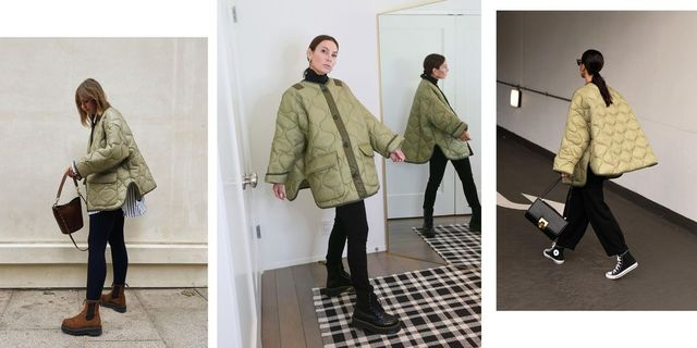 three women wear frankie shop's moss green quilted jacket with black pants in their homes and on the street