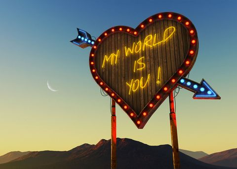 Sky, Landscape, Tree, Love, Heart, Signage, Night,