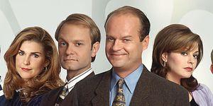 Frasier cast – Peri Gilpin as Roz Doyle, David Hyde Pierce as Dr. Miles Crane, Kelsey Grammer as Dr. Frasier Crane, Jane Leeves as Daphne Moon