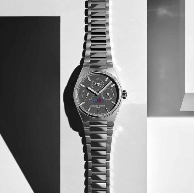 steel watch with geometric shapes