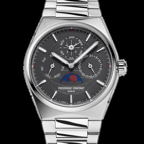 calendar watch on steel bracelet