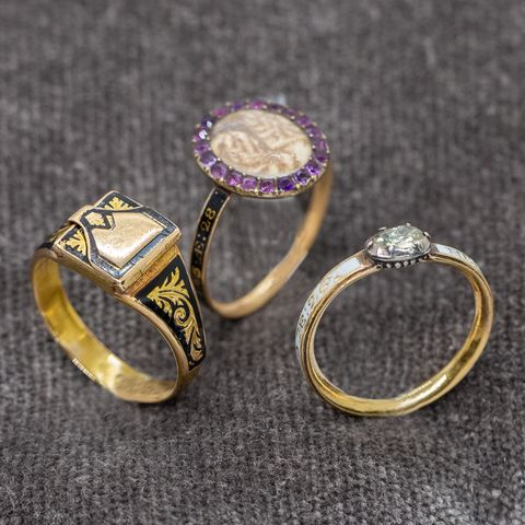 18th Century Mourning Rings, via Fred Leighton