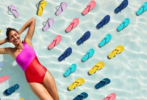 Footwear, One-piece swimsuit, Recreation, Sportswear, Swimwear, Leisure,