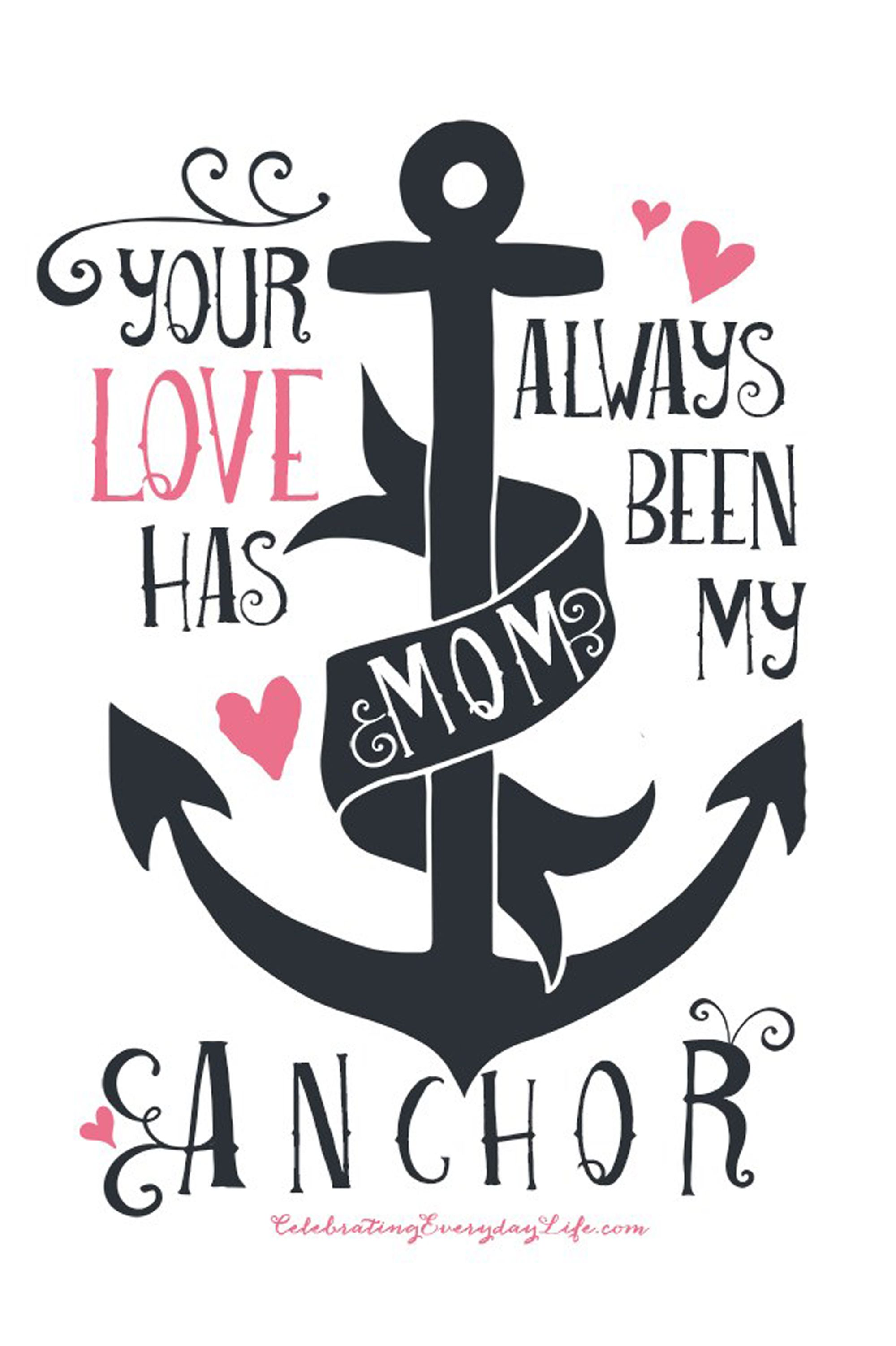 photograph relating to Printable Anchor Stencil identified as 30 Lovable Totally free Printable Moms Working day Playing cards - Mother Playing cards Yourself Can