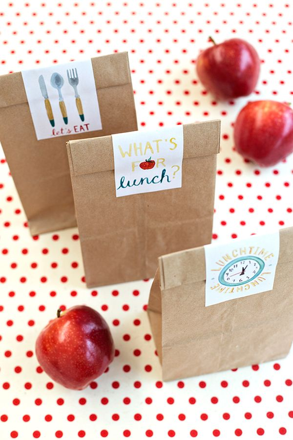 Back to School diy lunch bag stickers