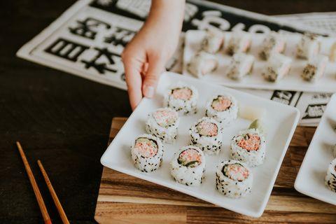 Food, Dish, Comfort food, Sushi, Cuisine, Rice ball, California roll, Gimbap, Side dish, Recipe,