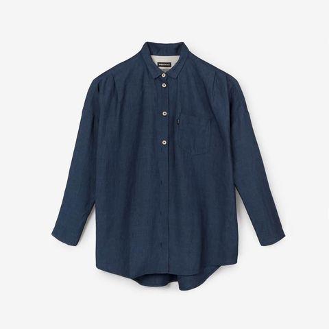 Clothing, Blue, Sleeve, Collar, Button, Shirt, Outerwear, Denim, Blouse, Pocket,