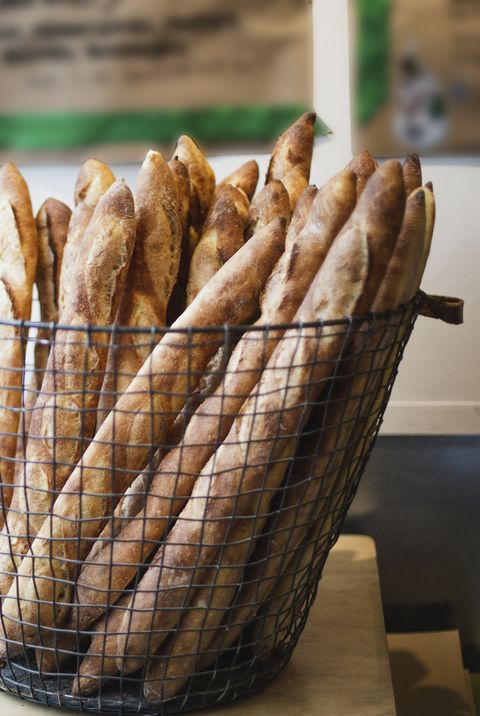 French baguettes in a bakery