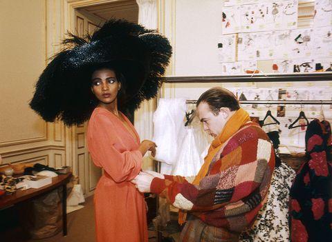 fashion designer christian lacroix at work