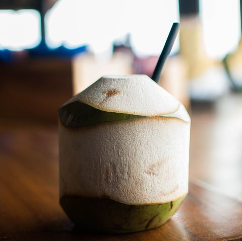 A fresh coconut juice in a tourist resort