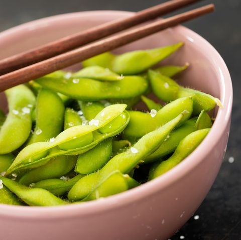 Fresh green edamame beans