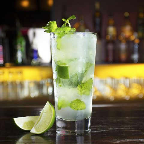 Drink, Mojito, Alcoholic beverage, Cocktail, Distilled beverage, Caipirinha, Non-alcoholic beverage, Gin and tonic, Cocktail garnish, Rickey,