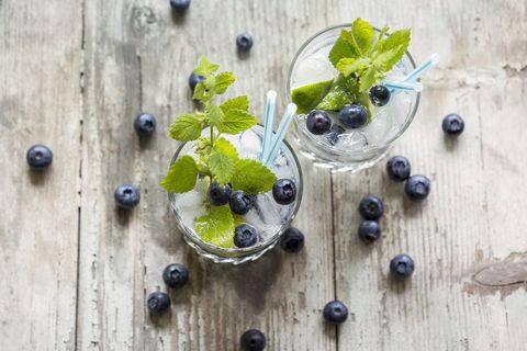 fresh mineral water with blueberries, mint and ice