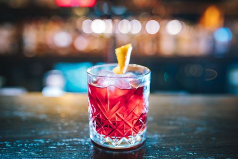 Fresh red colorful exotic alcoholic cocktail