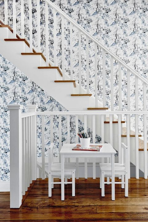 White, Room, Wall, Interior design, Wallpaper, House, Stairs, Architecture, Ceiling, Tree,