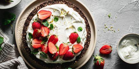 freshly prepared yogurt strawberry pie