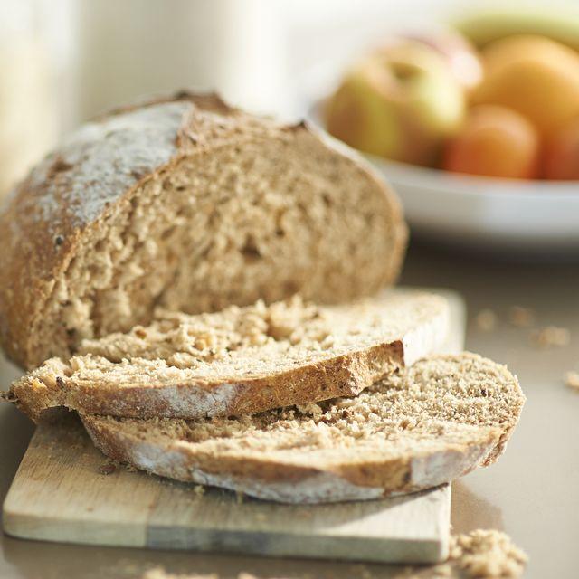 freshly sliced bread and jam in zero waste kitchen