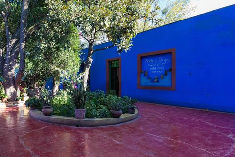Blue, Majorelle blue, Property, Real estate, Wall, Architecture, House, Tree, Building, Home,