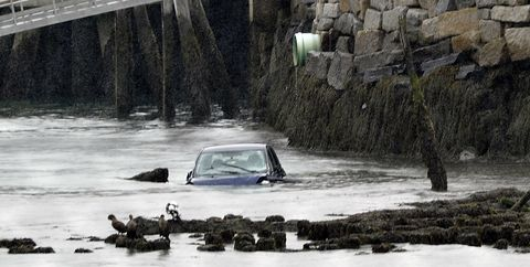 car in water off pier in restricted zone at end of india street